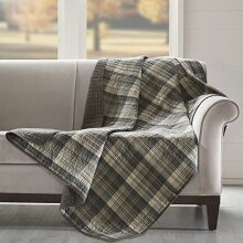 Woolrich Tasha Luxury Quilted Throw Taupe 50x70   Plaid Premium Soft Cozy 100% Cotton For Bed Couch or Sofa