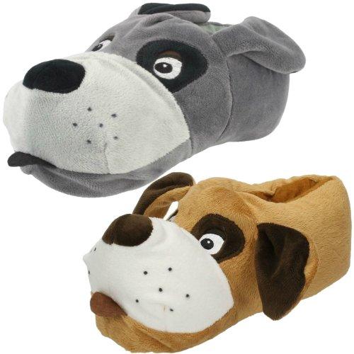 Unisex Junior Spot On Flat Novelty Dog Slippers