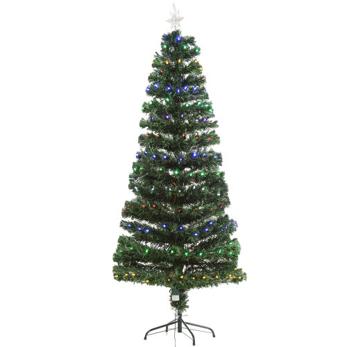 HOMCOM 6FT Pre-Lit Artificial Christmas Tree w/220 Lights Star Topper Metal Base