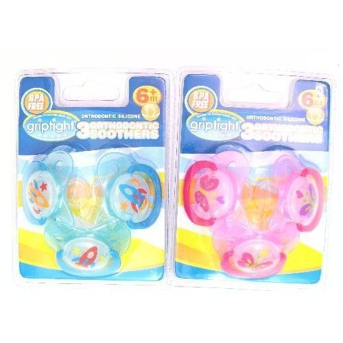 Griptight 3 Decorated Orthodontic Soothers (Silicone) (6 Months+, Blue)