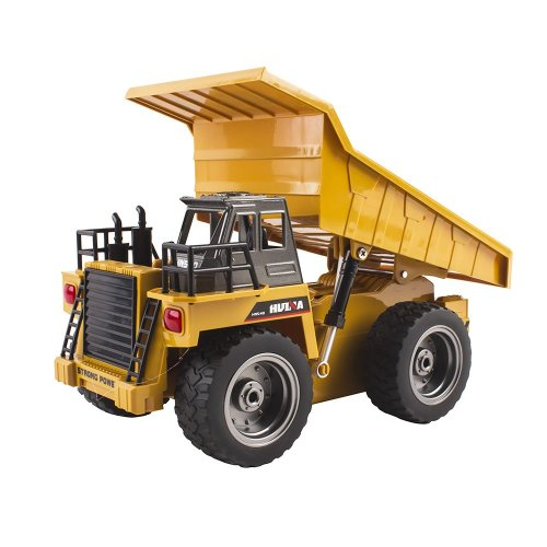 (Dump Truck) deAO 2.4Ghz Remote Control 6 Channel Full Functional Excavator Digger with Lights & Sounds Included