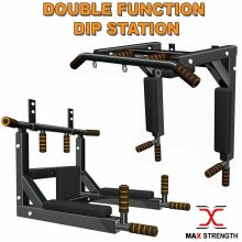 Black Pull Up Bar Wall Mounted Dip Chin Workout Gym Station Stand Sit Push MMA