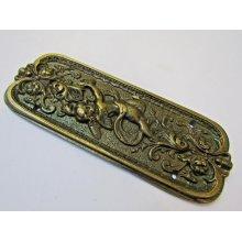 Antique Brass Cherub Finger Plate