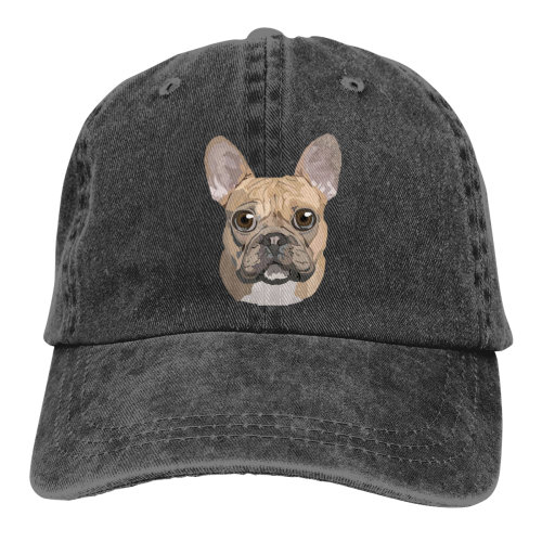 French Bulldog Denim Baseball Caps