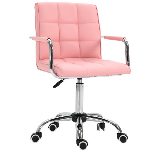 Vinsetto Mid Back Home Office Chair Swivel Salon Stool with Arm, Wheel, Pink
