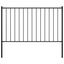 Fence Panel with Posts Powder-coated Steel 1.7x1.25 m Black