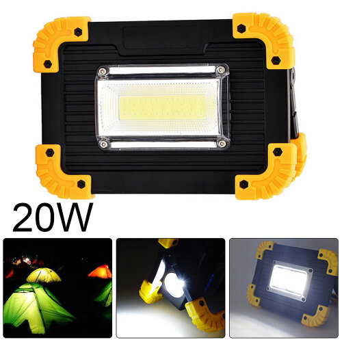 20W Rechargeable LED COB Work Light Security Floodlight Camping Lamp