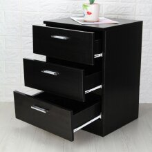 Modern Bedside table Black 3 Drawer cabinets units nightstand