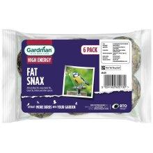 Gardman Fat Snax For Wild Birds, High Energy Suet, Feeding, No Nets - Pack Of 6
