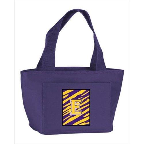 Monogram Letter E - Tiger Stripe, Purple Insulated Cooler Lunch Bag