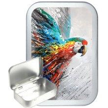 Graffiti Parrot 50ml Silver Hinged Tobacco tin