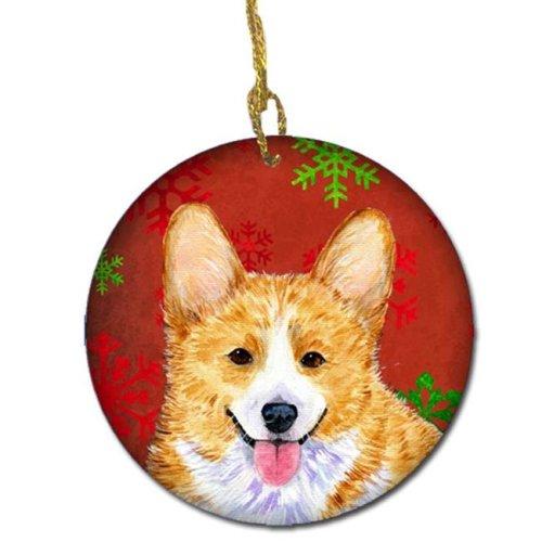 Corgi Red Snowflakes Holiday Christmas Ceramic Ornament
