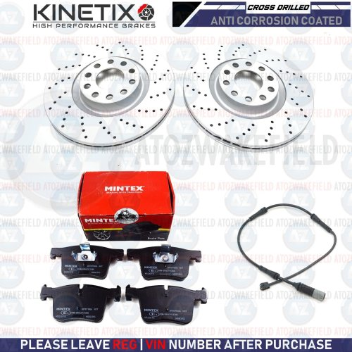 FOR BMW 325d F30 F31 F80 FRONT CROSS DRILLED BRAKE DISCS MINTEX PADS WIRE 330m