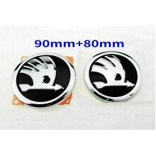 Set of Skoda Boot Bonnet Front Back Emblem Badge Symbol Logo 90mm 80mm