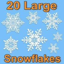 20 Large Snowflake Window Glueless PVC Clings