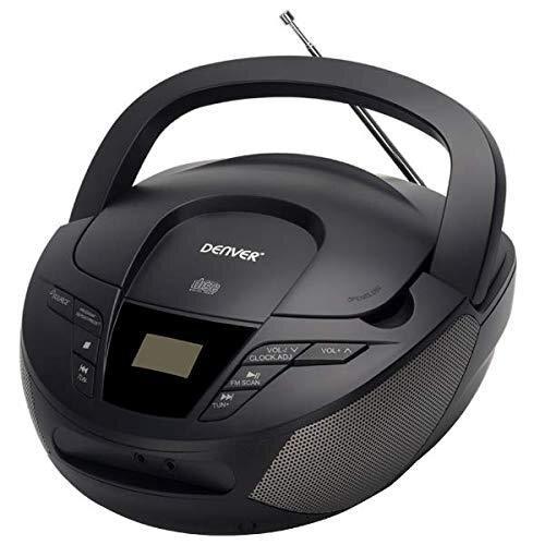 Denver TC-28BLACK. Portable CD Player and FM Radio. Boombox 2W Speakers AUX Input.