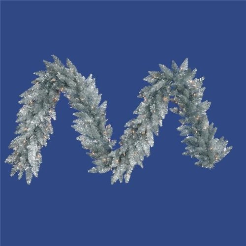 Vickerman K166915LED Silver Dura-Lit Garland with Warm White LED Lights, 9 ft. x 14 in.
