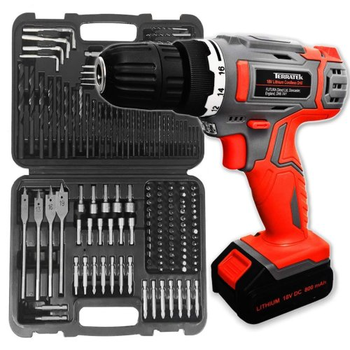 Terratek 163pcs Cordless Drill Driver 18V/20V-Max Lithium-Ion Combi Drill, Electric Screwdriver, Accessory Kit, LED Work Light, Quick Change Battery &
