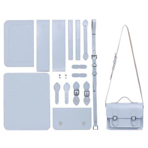 (Blue) Make it Yourself Leather Messenger Bag DIY Kit  Womens Satchel Shoulder Crossbody Bag