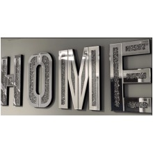 Mirrored Diamond Crushed Crystal Mirror Diamond HOME Letters Wall Art