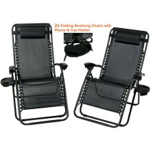 2PC Zero Gravity Chairs Sun Lounger Reclining W/ Cup Phone Holders
