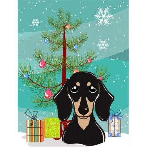 Christmas Tree And Smooth Black And Tan Dachshund Flag Garden Size