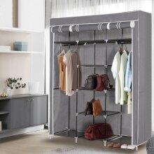 Large Grey Canvas Wardrobe Foldable Clothes Cupboard Organiser Storage