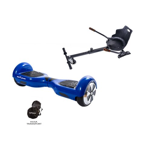 Package Hoverboard Smart Balance™ Premium Brand, Regular Blue + Hoverseat, 6.5 inch wheels, Bluetooth, Built-in speakers, 350W