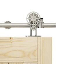 Stainless steel sliding barn door hardware, top mount spoke wheel, interior wood rolling track