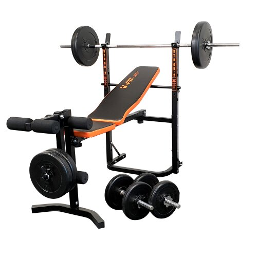 V-fit STB09-1 Folding Weight Bench & 50kg Weight Set