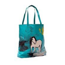 RSPCA Blue Green Horse Design Shoulder Tote Reuse-able Shopping Bag