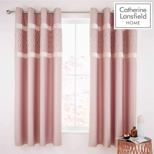 Catherine Lansfield Sequin Cluster Eyelet Curtains 66x90 inch Blush