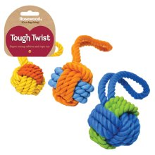 Tough Twist Rubber & Rope Ball Tug 29cm (Pack of 3)