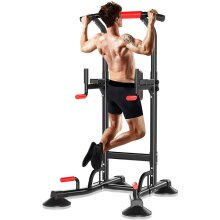 THERUN Adjustable Power Tower Dip Station Pull Up Bar- Workout Station Home Gym Dip Stand- Strength Training Pull Up Station, Latest Model
