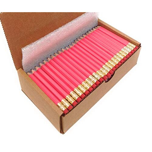 Musgrave Pencil, Half Pencils with Eraser, golf Events School church Library Pencil, Hexagon, Number 2, Sharpened, Box of 144, Pink