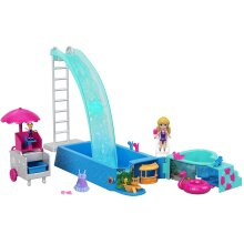 Polly Pocket FTP75 Splashtastic Pool Surprise Playset with 3 Inch Polly Doll, Micro Accessories, Multicolored