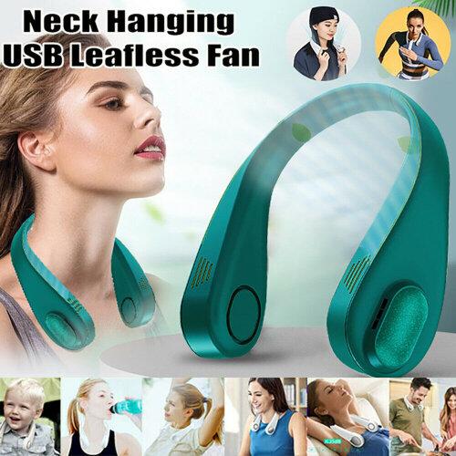 (Dark Green Rechargeable) Neck Fan Bladeless Hands Free Wearable Fan 3 Speed