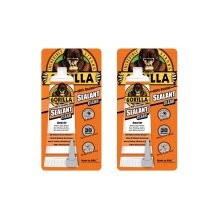 Gorilla 8090001-2 100% Silicone Sealant, 2.8 oz, Clear, (Pack of 2), 2 Pack