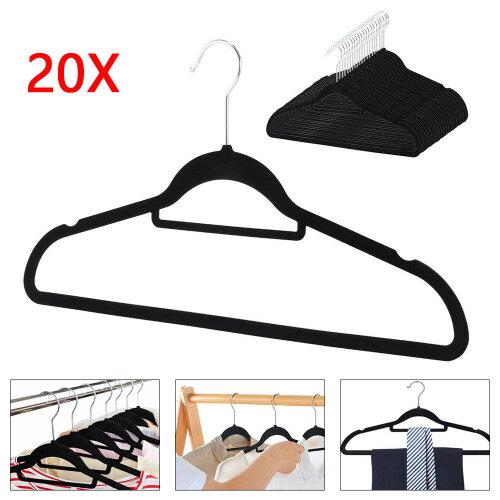 Velvet Coat Hangers Clothes Velour Flocked Non Slip Curved Coat Hanger