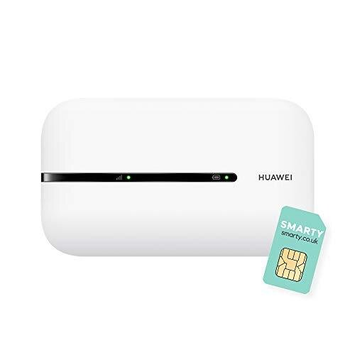 Huawei E5576-320, Portable 4G Low Cost Travel Wi-Fi, Roams on all World Networks, Genuine UK Warranty Stock, with FREE SMARTY SIM- White