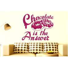 Chocolate Is The Answer Wall Stickers Art Decals - Medium (Height 48cm x Width 57cm) Violet
