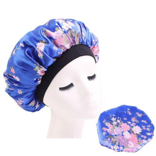 (Blue) Lady Hair Care Bonnet Sleeping Hat Head Cover Wrap