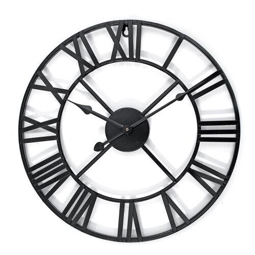 40cm Large Metal Skeleton Roman Numeral Wall Clock Black Round Shape
