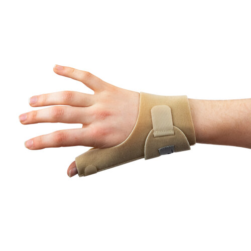 (Beige, Left) Actesso Neoprene Thumb Support Splint - Relieves Thumb Pain & Injury, Tendonitis, De Quervain's, and Sprains