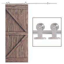 HOMCOM Modern Sliding Barn Door Closet Hardware Track Kit Track System Unit
