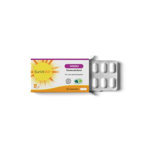SunVit-D3 1000IU Vitamin D Capsules - DAILY DOSE - UK made - Dairy & Gluten Free