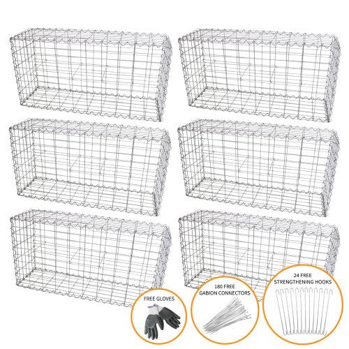 Gabion Baskets Garden Cages Wire Stone / 100 x 50 x 30cm / 6 Pack