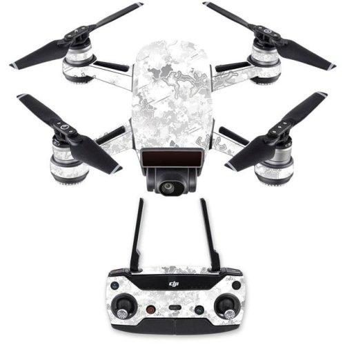 MightySkins DJSPCMB-Viper Snow Skin Decal for DJI Spark Mini Drone Combo Sticker - Viper Snow