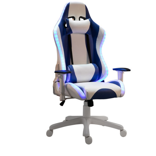 HOMCOM LED Light PU Leather Gaming Chair Thick Padding w/ Removable Pillows