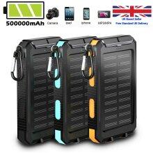 Power Bank powerbank 500000mAh Solar Waterproof External Mobile Phone Fast Battery Charger Ship from UK